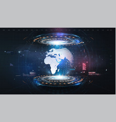 Hologram earth for concept design blue futuristic vector
