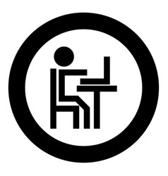 human working at the laptop black icon in circle vector image