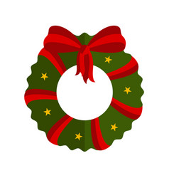 isolated christmas holly wreath decoration icon vector image