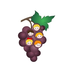 Kids on the grapes vector image