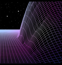 Landscape with wireframe grid 80s styled retro vector