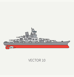 Line flat color icon naval battleship vector