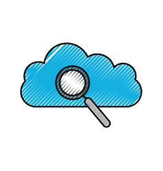 magnifier search cloud system information icon vector image