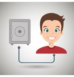 man with safe box isolated icon design vector image