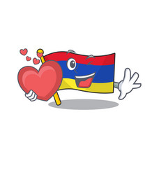 mascot flag armenia with in holding heart vector image