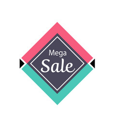 mega sale proposition isolated sticker vector image