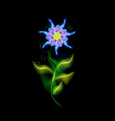 modern blue flower glowing colorful cosmic floral vector image
