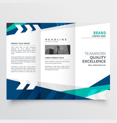 Modern blue trifold business brochure design vector