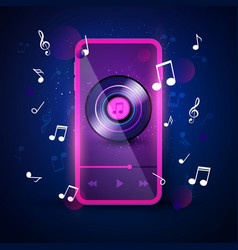 music app interface in neon color retro design vector image