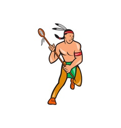 Native American Lacrosse Player Cartoon vector image