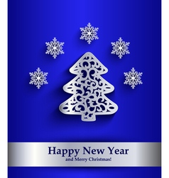 New Year greeting card with silver silhouette of vector