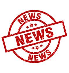 News round red grunge stamp vector