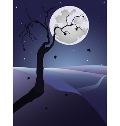 Night landscape with tree and full moon vector