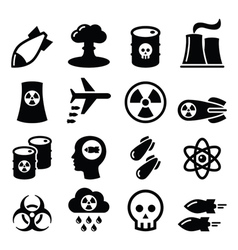 Nuclear weapon nuclear factory war bombs icons vector
