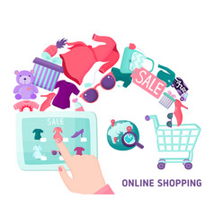 online shopping touchscreen concept vector image