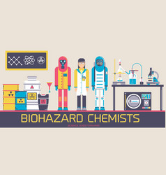 people in environmental protective suits at lab vector image