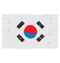 pixelated flag of south korea vector image
