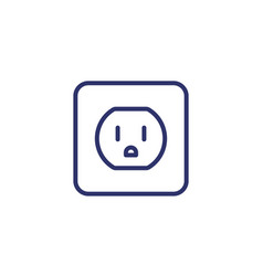 Power outlet with type b socket line icon vector