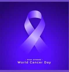 Purple world cancer day awareness ribbon concept vector