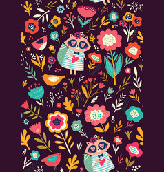 raccoon and flowers vector image