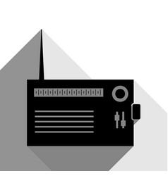 radio sign black icon with vector image