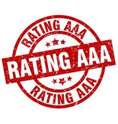 rating aaa round red grunge stamp vector image