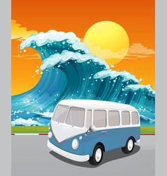 road trip to ocean vector image