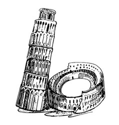rome coliseum and leaning tower vector image