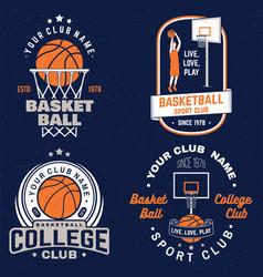 set basketball club badge graphic vector image