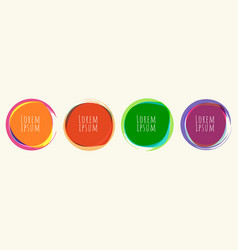 set circles round shape with brush line bright vector image