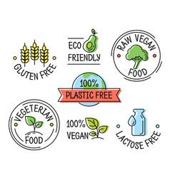 set line eco logo icons gluten plastic vector image