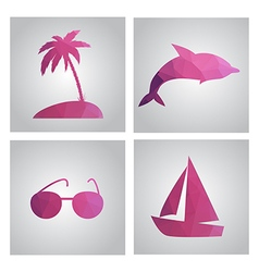 Set of cards in polygonal style Beach island palm vector