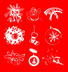 set of christmas and new year hand drawn vector image