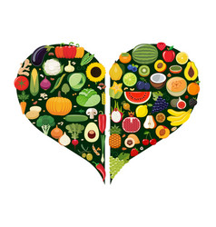 set of fruit and vegetable icons forming heart vector image