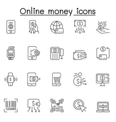 Set online money related line icons contains vector