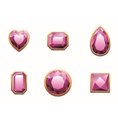 Set pink colored gems vector