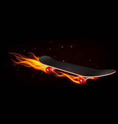 skateboard on fire realistic background vector image