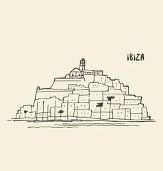 Sketch of ibiza landscape vector