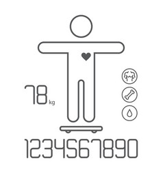 Smart scale weight fat bones water icons numbers vector
