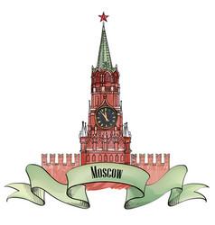 Spasskaya tower isolated vector