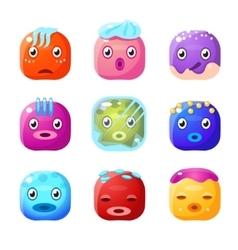 Square Fantastic Creature Face Emoticon Set vector