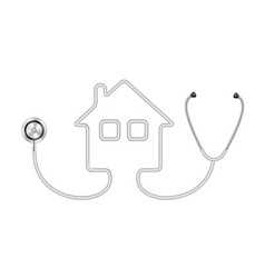 stethoscope in shape of house in grey design vector image