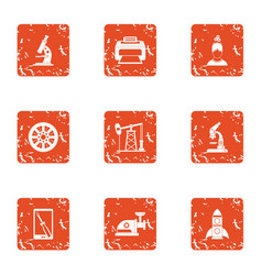Study of technology icons set grunge style vector