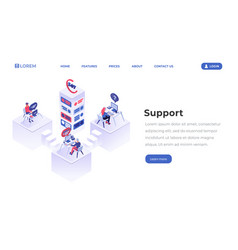 support center isometric landing page template vector image