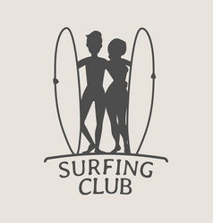 surfing club logo icon or symbol silhouette of vector image