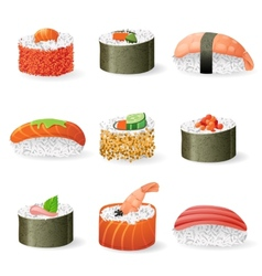 Sushi icons set vector