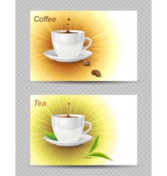 Tea and coffee cards vector