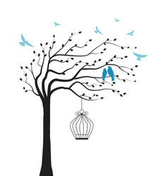 Tree with bird and cage vector
