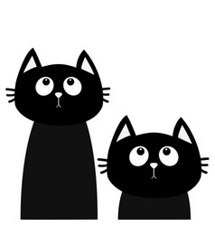 Two black cat set looking up friends forever cute vector