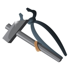 Two working tool tongs and hammer isolated vector image